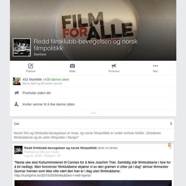 En tidligere filmklubb-aktiv har startet denne støttesiden på Facebook. Vi…