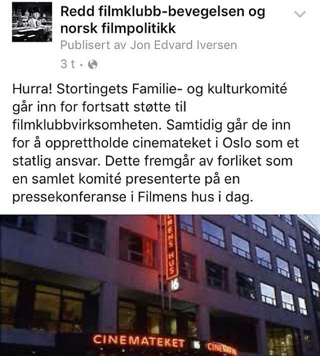 En gledens dag for norsk filmkultur! filmforalle filmklubb cinemateket filmkultur