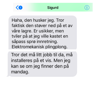 Sms-utveksling med Sigurd Wik. The suspense lives on.