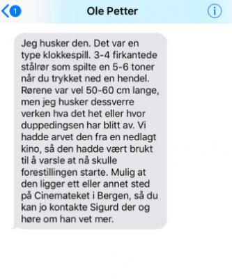 Sms-utveksling med Ole Petter Bakken.